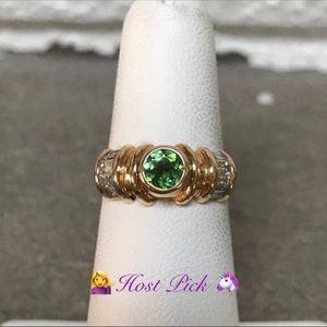 14K Diamond and Tsavorite Stone Ring High quality
